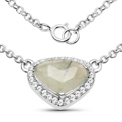 3.42 Carat Genuine Prehnite and White Topaz .925 Sterling Silver Necklace
