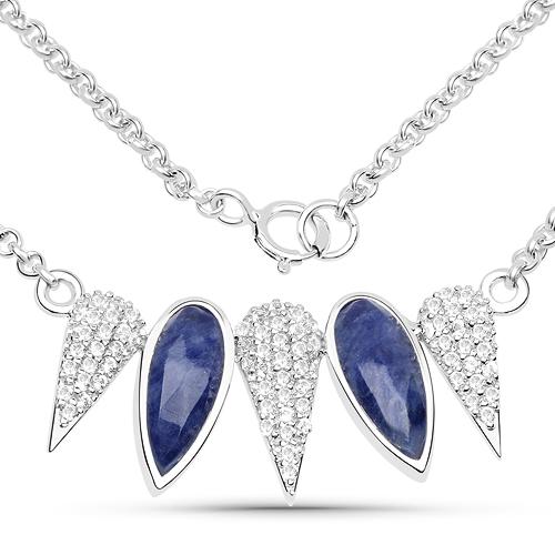 2.46 Carat Genuine Blue Aventurine and White Topaz .925 Sterling Silver Necklace