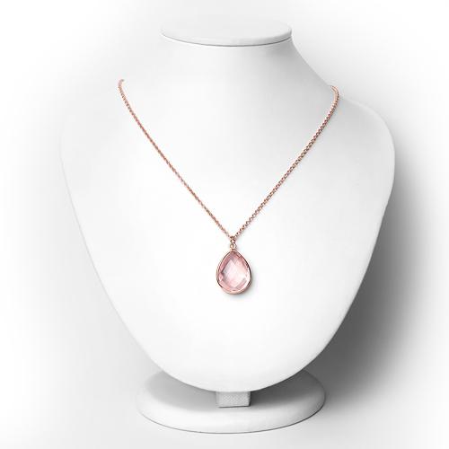 18K Rose Gold Plated 12.90 Carat Genuine Rose Quartz .925 Sterling Silver Necklace