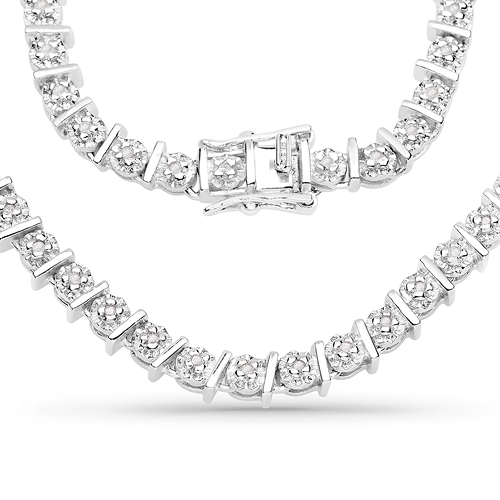 Diamond-1.28 Carat Genuine White Diamond .925 Sterling Silver Necklace