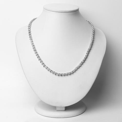 1.28 Carat Genuine White Diamond .925 Sterling Silver Necklace