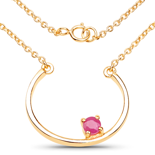 Ruby-18K Yellow Gold Plated 0.30 Carat Genuine Ruby .925 Sterling Silver Necklace