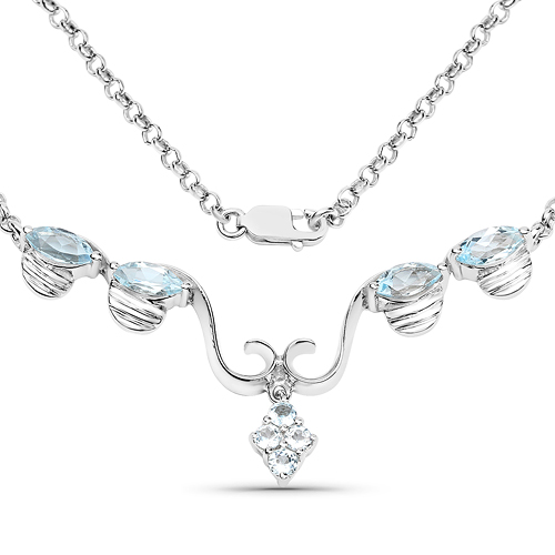 Necklaces-2.96 Carat Genuine Blue Topaz .925 Sterling Silver Necklace