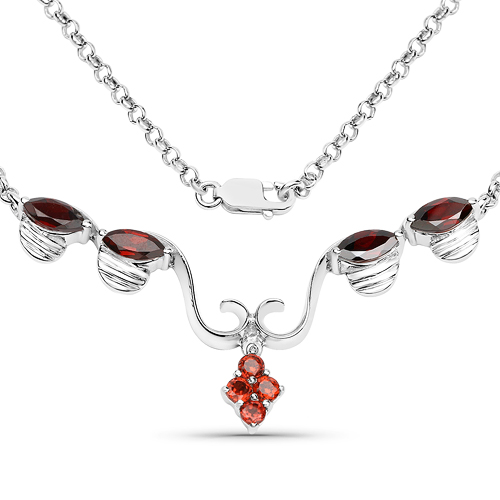 Garnet-3.08 Carat Genuine Garnet .925 Sterling Silver Necklace