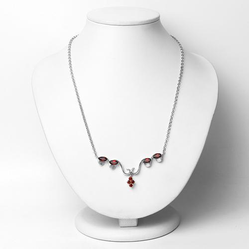 3.08 Carat Genuine Garnet .925 Sterling Silver Necklace