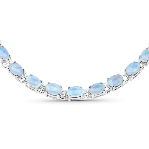 Opal-32.83 Carat Genuine Opal .925 Sterling Silver Necklace