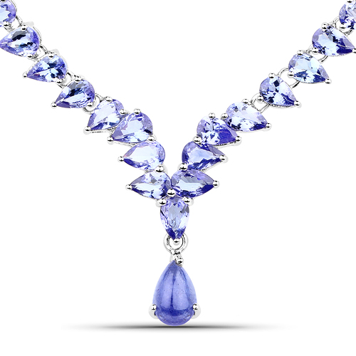 37.92 Carat Carat Genuine Tanzanite .925 Sterling Silver Necklace