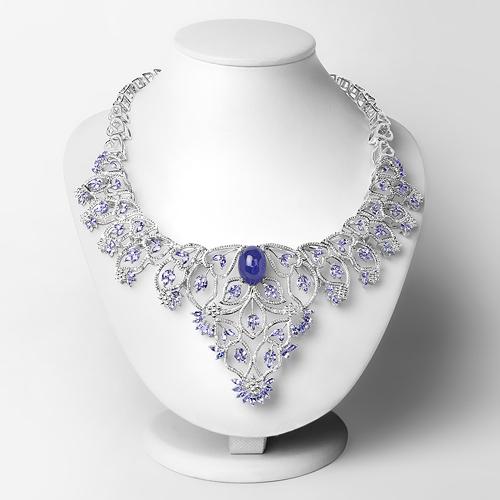 35.90 Carat Genuine Tanzanite and White Diamond .925 Sterling Silver Necklace