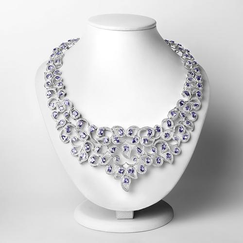 31.29 Carat Genuine Tanzanite and White Diamond .925 Sterling Silver Necklace