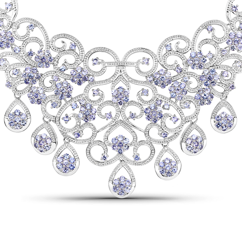 Tanzanite-28.33 Carat Genuine Tanzanite and White Diamond .925 Sterling Silver Necklace