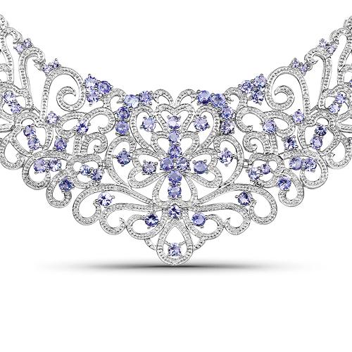 23.86 Carat Genuine Tanzanite and White Diamond .925 Sterling Silver Necklace