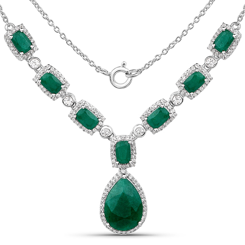 Emerald-12.02 Carat Dyed Emerald and White Topaz .925 Sterling Silver Necklace