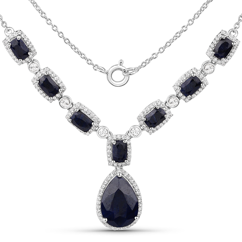 Sapphire-12.59 Carat Dyed Sapphire and White Topaz .925 Sterling Silver Necklace