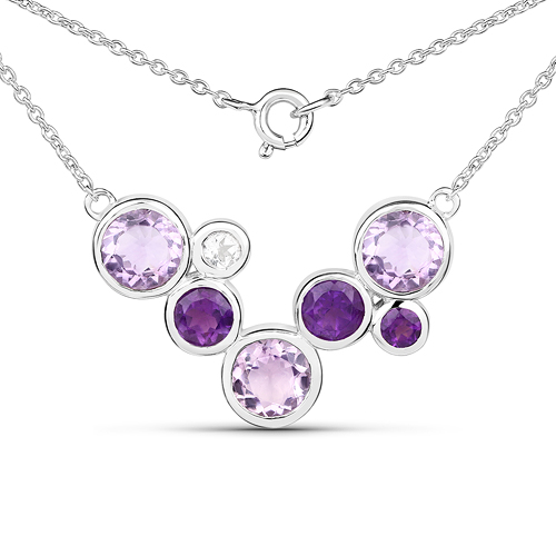 Amethyst-7.83 Carat Amethyst and White Topaz .925 Sterling Silver Necklace
