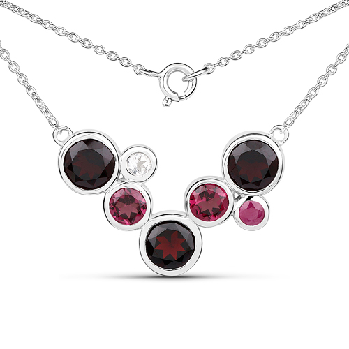 8.99 Carat Genuine Multi Stones .925 Sterling Silver Necklace