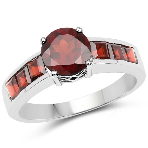 Garnet-2.68 Carat Genuine Garnet .925 Sterling Silver Ring