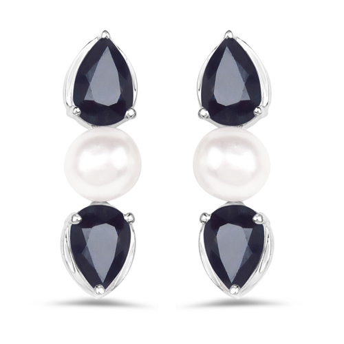 Earrings-3.08 Carat Genuine Blue Sapphire and Pearl .925 Sterling Silver Earrings