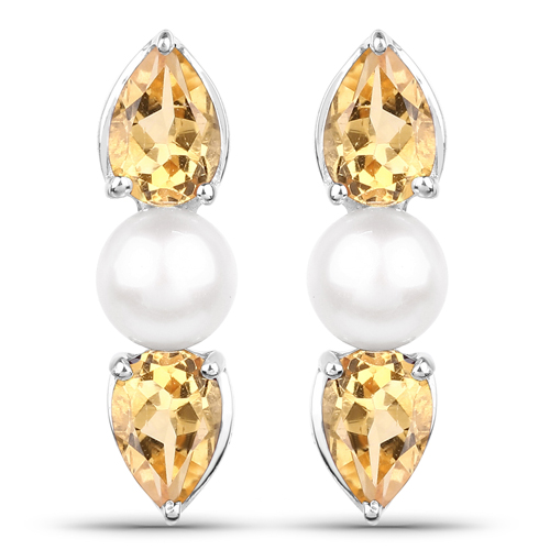 Citrine-3.48 Carat Genuine Citrine and Pearl .925 Sterling Silver Earrings