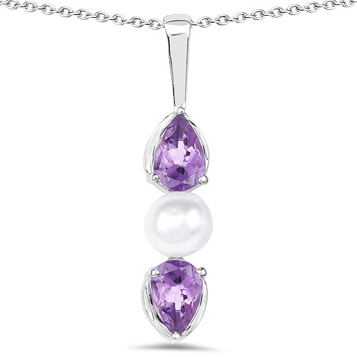 Amethyst-1.44 Carat Genuine Amethyst and Pearl .925 Sterling Silver Pendant