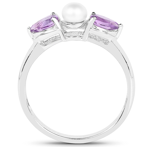 6.96 Carat Genuine Amethyst and Pearl .925 Sterling Silver Ring, Pendant and Earrings Set