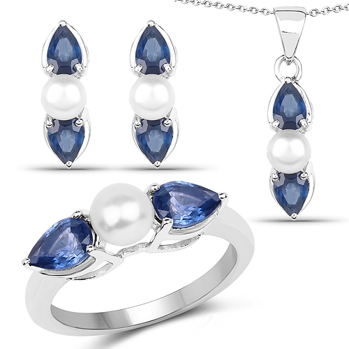 Sapphire-7.36 Carat Genuine Blue Sapphire and Pearl .925 Sterling Silver Ring, Pendant and Earrings Set
