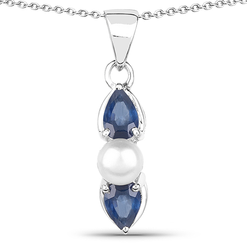 Sapphire-1.54 Carat Genuine Blue Sapphire and Pearl .925 Sterling Silver Pendant
