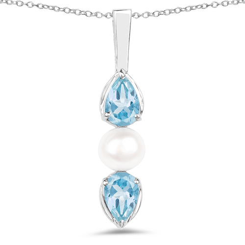 Pendants-1.56 Carat Genuine Blue Topaz and Pearl .925 Sterling Silver Pendant