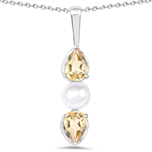 Citrine-1.44 Carat Genuine Citrine and Pearl .925 Sterling Silver Pendant