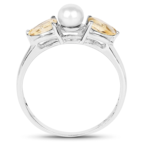 6.96 Carat Genuine Citrine and Pearl .925 Sterling Silver Ring, Pendant and Earrings Set