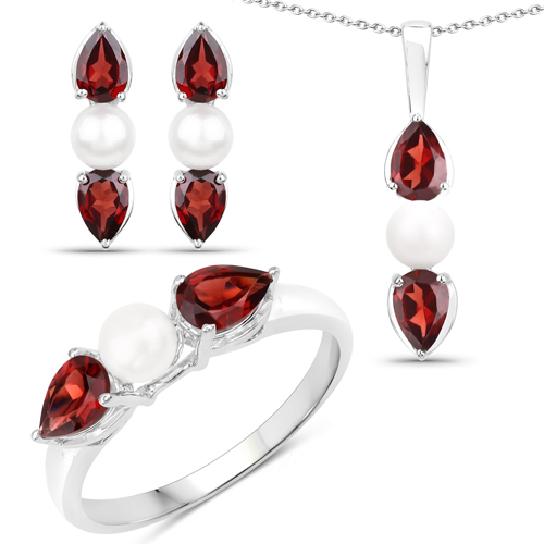 Garnet-6.16 Carat Genuine Garnet and Pearl .925 Sterling Silver Ring, Pendant & Earrings Set