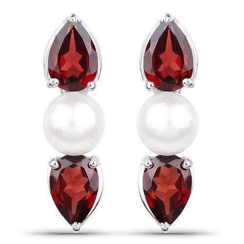 6.16 Carat Genuine Garnet and Pearl .925 Sterling Silver Ring, Pendant & Earrings Set