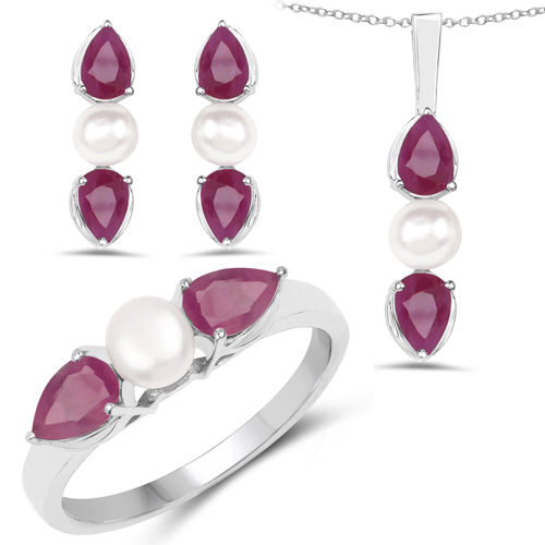 Ruby-5.60 Carat Genuine Ruby and Pearl .925 Sterling Silver Ring, Pendant & Earrings Set