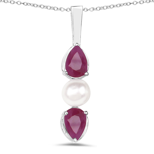 Ruby-1.40 Carat Genuine Ruby and Pearl .925 Sterling Silver Pendant