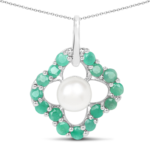 Emerald-2.80 Carat Genuine Emerald and Pearl .925 Sterling Silver Pendant