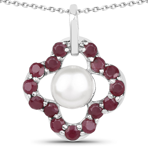 Pearl-3.08 Carat Genuine Pearl and Ruby .925 Sterling Silver Pendant