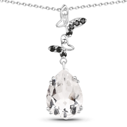 Pendants-7.61 Carat Genuine Crystal Quartz & Black Spinel .925 Sterling Silver Pendant
