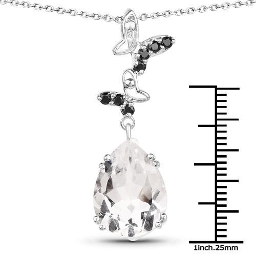 7.61 Carat Genuine Crystal Quartz & Black Spinel .925 Sterling Silver Pendant