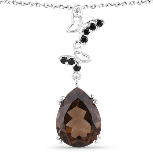 Pendants-7.54 Carat Genuine Smoky Quartz and Black Spinel .925 Sterling Silver Pendant