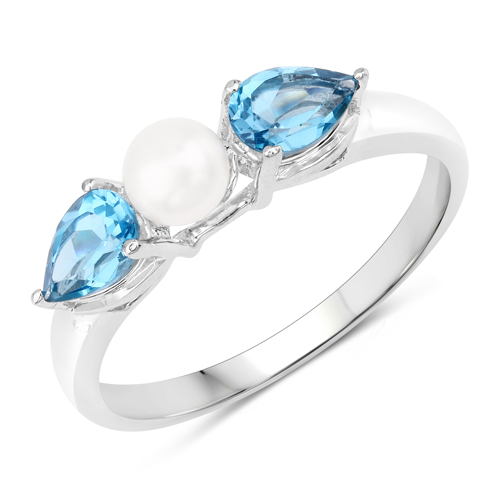 Rings-1.56 Carat Genuine Blue Topaz and Pearl .925 Sterling Silver Ring