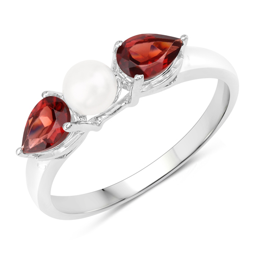Garnet-1.54 Carat Genuine Garnet and Pearl .925 Sterling Silver Ring
