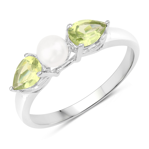 Peridot-1.44 Carat Genuine Peridot and Pearl .925 Sterling Silver Ring
