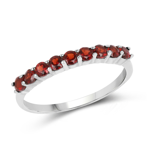 Garnet-0.85 Carat Genuine Garnet .925 Sterling Silver Ring