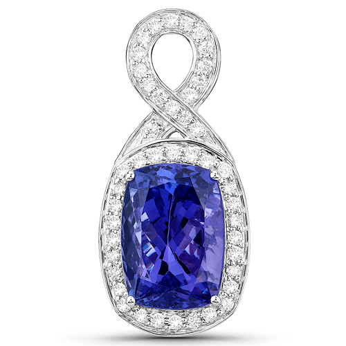 Tanzanite-8.07 Carat Genuine Tanzanite and White Diamond 14K White Gold Pendant