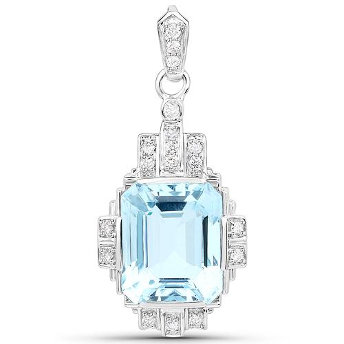 6.61 Carat Genuine Aquamarine and White Diamond 14K White Gold Pendant