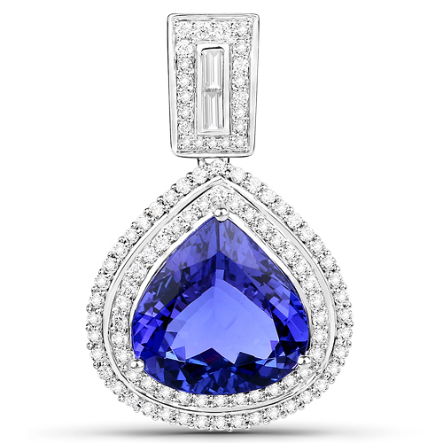 Tanzanite-9.81 Carat Genuine Tanzanite and White Diamond 18K White Gold Pendant