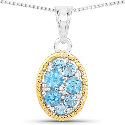 Pendants-0.74 Carat Genuine Swiss Blue Topaz and White Diamond 14K Yellow Gold with .925 Sterling Silver Pendant