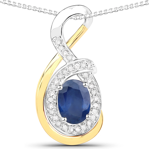 Sapphire-1.03 Carat Genuine Blue Sapphire and White Diamond 14K Yellow Gold with .925 Sterling Silver Pendant