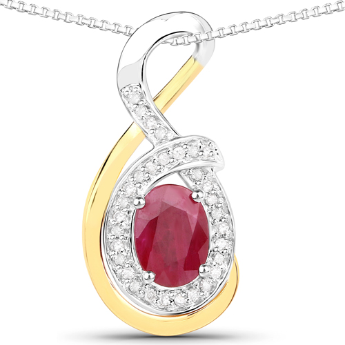 Ruby-0.93 Carat Genuine Ruby and White Diamond 14K Yellow Gold with .925 Sterling Silver Pendant
