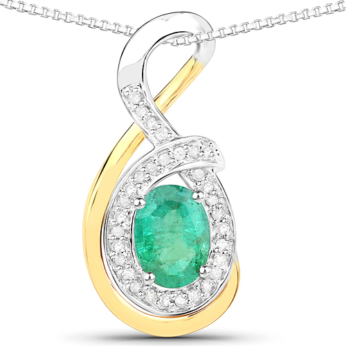 Emerald-0.80 Carat Genuine Zambian Emerald and White Diamond 14K Yellow Gold with .925 Sterling Silver Pendant