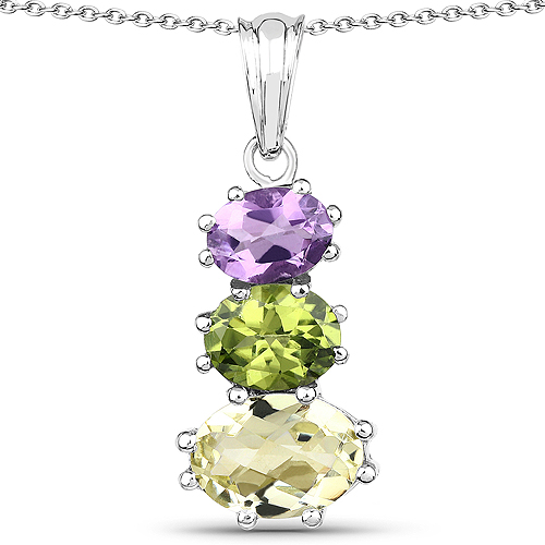 Pendants-6.00 Carat Genuine Lemon Topaz, Peridot and Amethyst .925 Sterling Silver Pendant